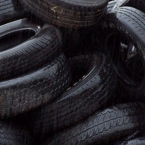 A stack of tires that could be recycled.