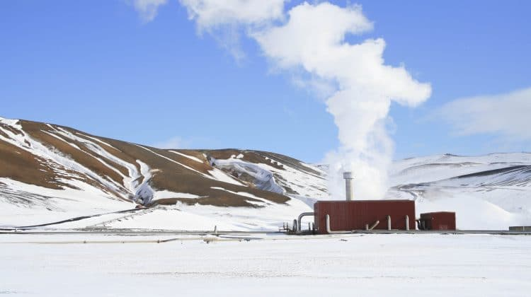 A geothermal power plant producing clean geothermal energy.