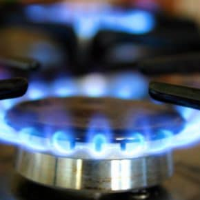 A gas cooker showing energy usage.