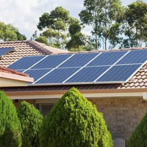 A solar energy system installed to a home.