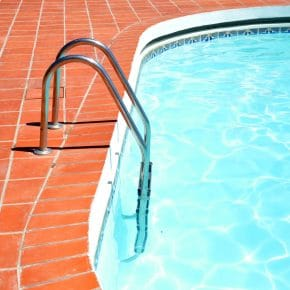 This pool could be heated by a home-made solar pool heater.