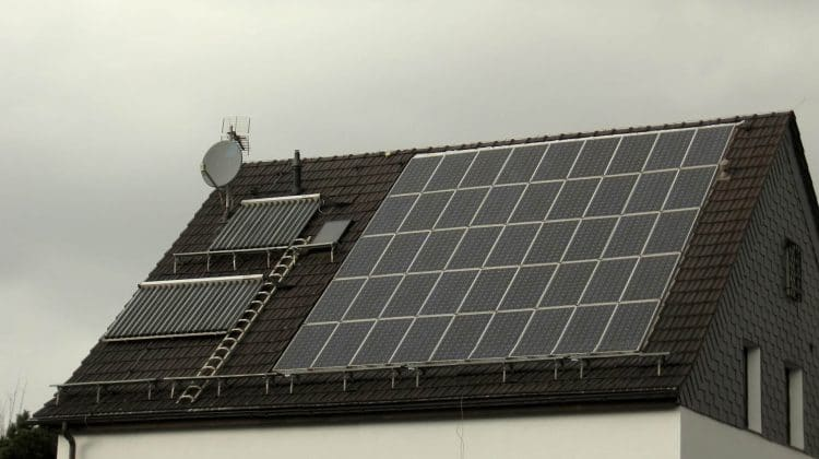 Two solar panels producing a hot water supply.
