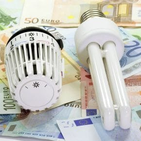A temperature control and energy saving light bulb showing how you can conserve energy.