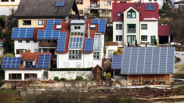 Buildings with photovoltaic panels installed.