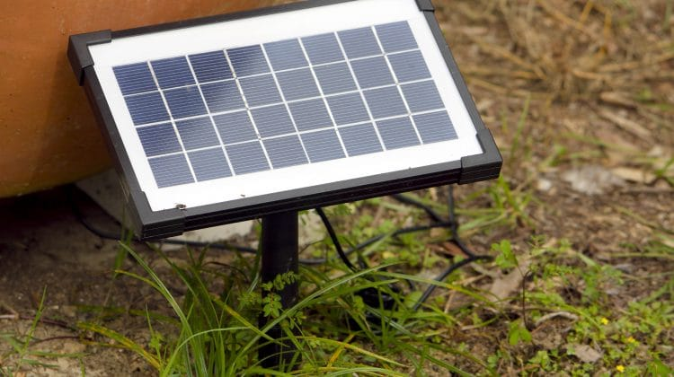 A portable solar panel providing a source of power.