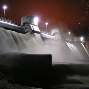 A dam harnessing renewable energy.