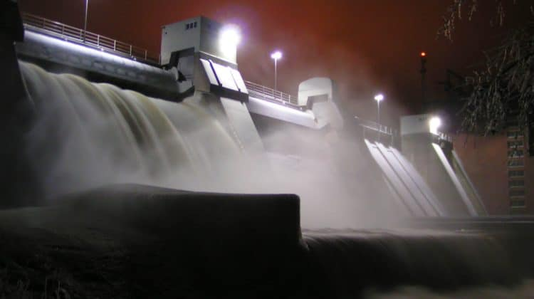 A dam harnessing renewable energy.
