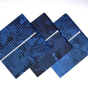 Three solar cells that would make up a solar panel.
