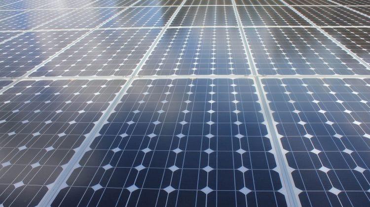 A solar panel array producing solar power.