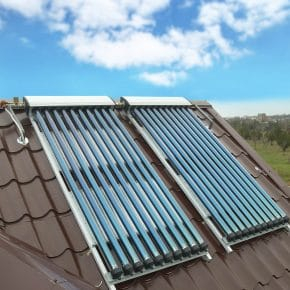 A solar hot water heating system installed to a house.