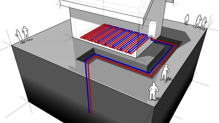 A diagram showing a geothermal heat pump system.