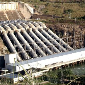 A dam producing clean and affordable hydroelectric power.