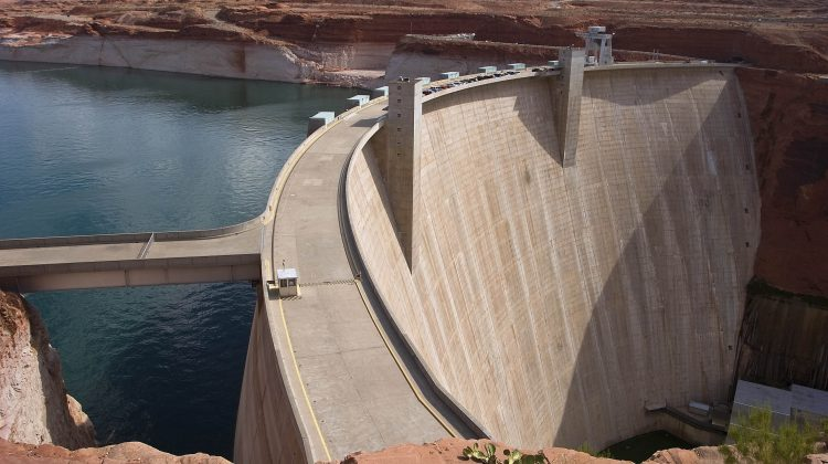 The Glen Canyon Dam producing hydropower on the Colorado River.