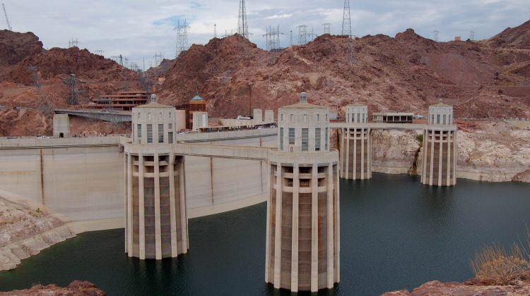 A picture showing the environmental impacts of a hydroelectric dam.