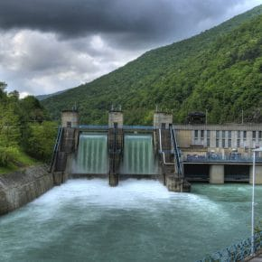 A hydroelectric power facility that is in use.