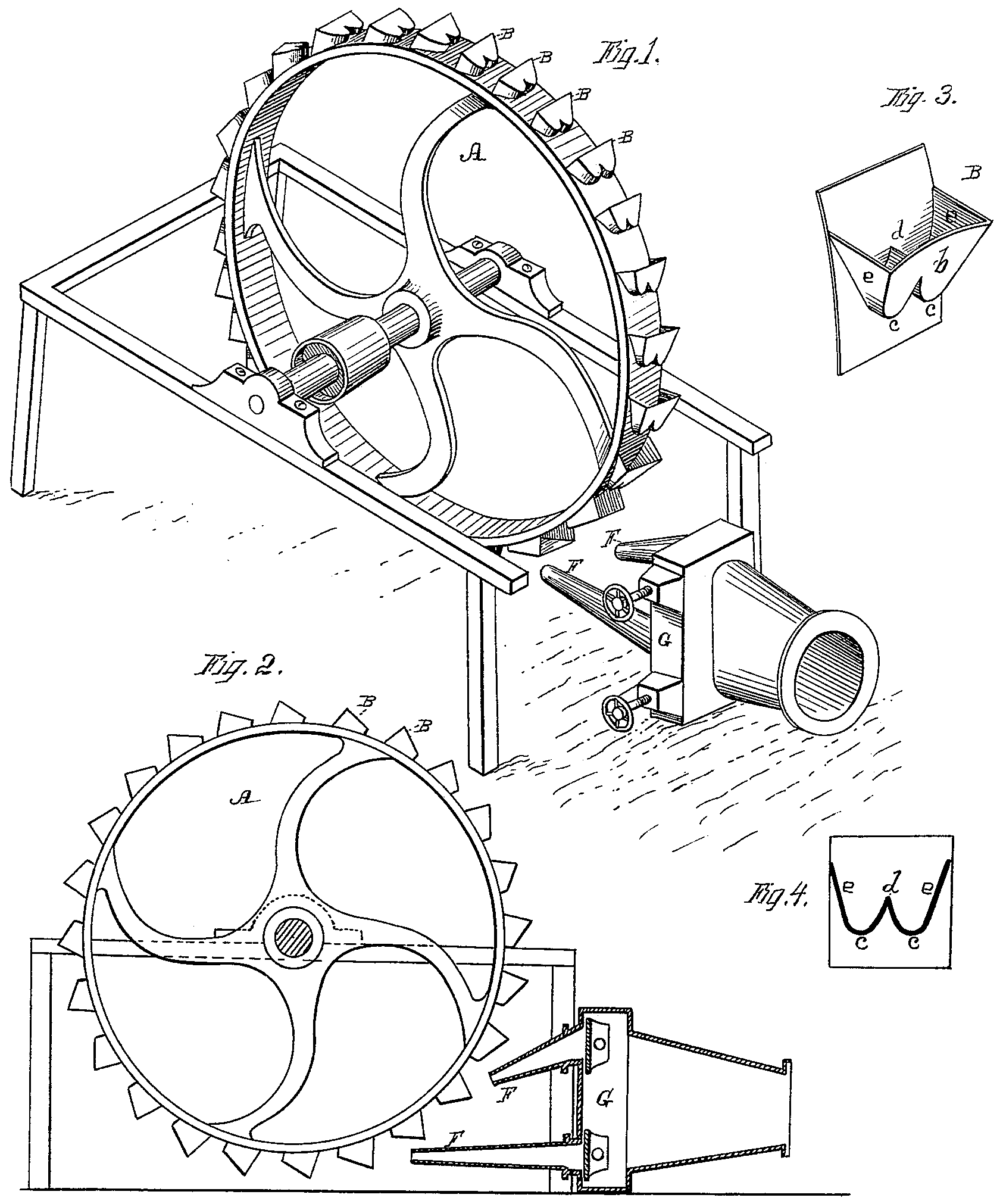 An illustration from Pelton's original patent filed in 1880.