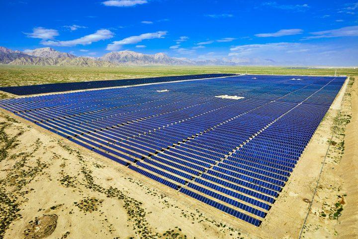 A solar farm installation with land clearance.