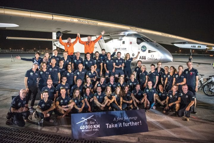 The Solar Impulse plane and its team.