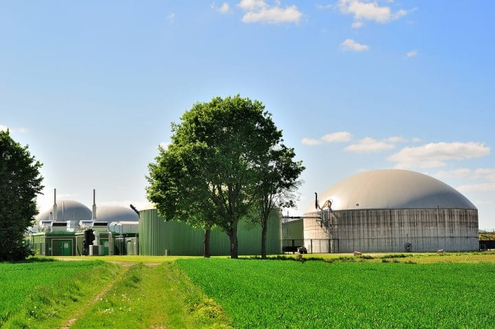 An anaerobic digester capable of producing biogas.