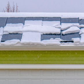 Snow been cleaned from solar panels.