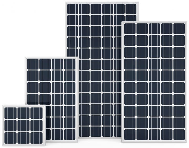 A selection of monocrystalline solar panels.