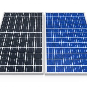 A monocrystalline solar panel next to a polycrystalline solar panel.