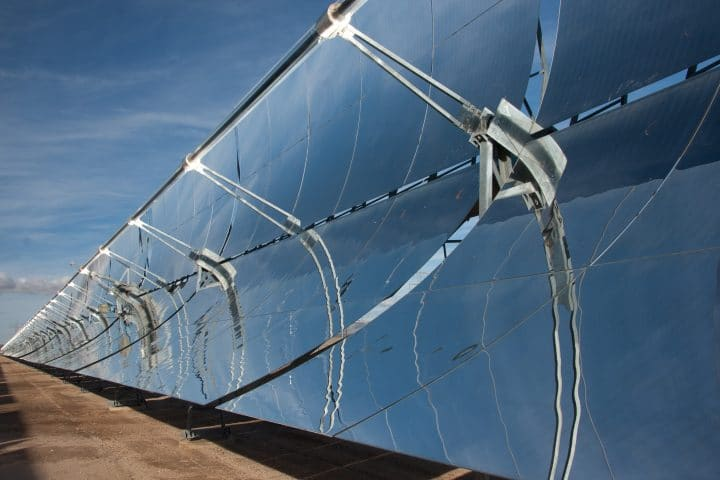 A parabolic mirror solar thermal power plant.