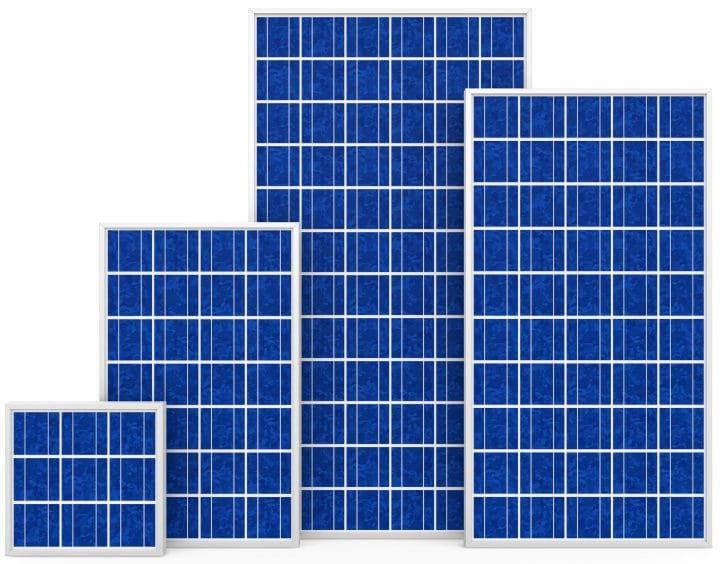 A selection of polycrystalline solar panels.