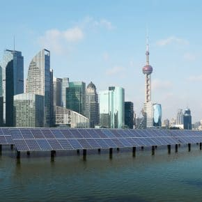 Solar energy usage in Shanghai, China.