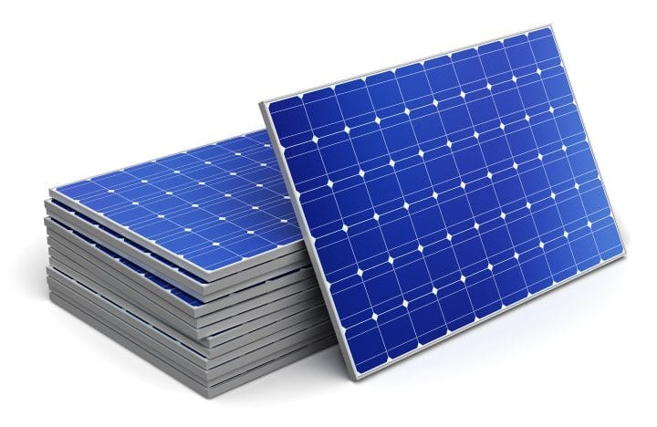 A stack of solar photovoltaic panels.