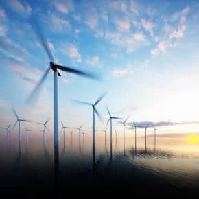 Wind turbines that produce wind power for the top countries in the world.