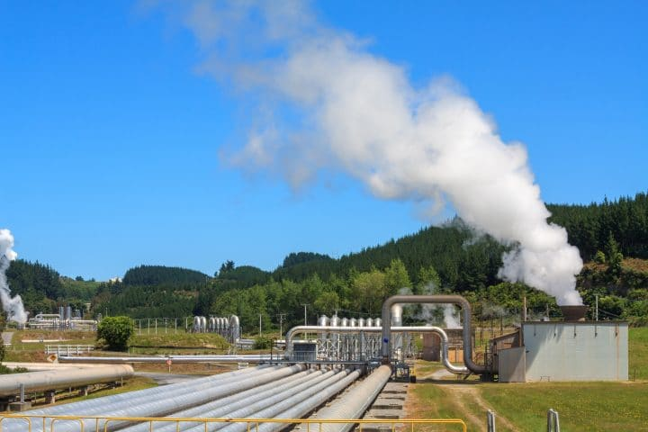 The Wairakei geothermal power plant in the North Island of New Zealand.