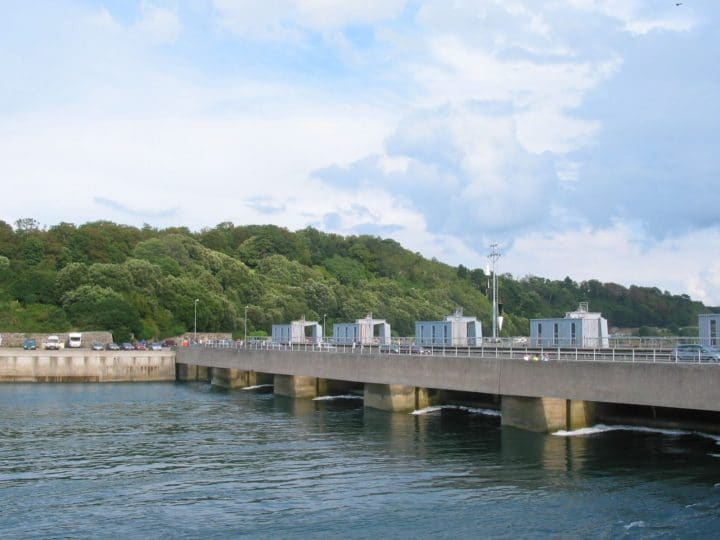 A tidal barrage power station built across the Rance river in France.