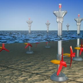 A tidal power system comprising of tidal stream turbines.