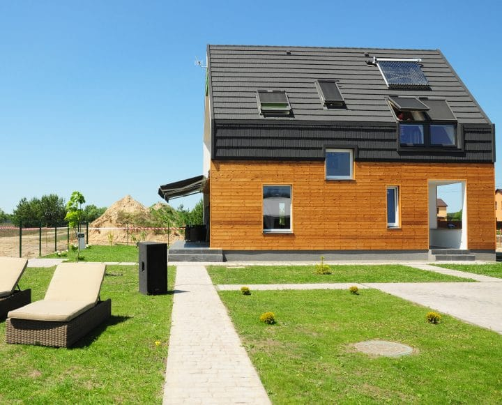 A homes designed with passive solar energy in mind.