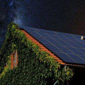 Solar panels at night.