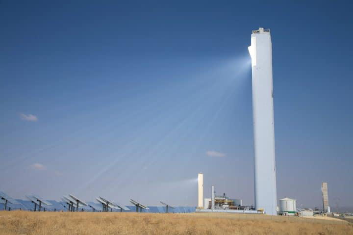 A tower based concentrated solar thermal power plant.