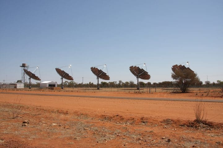 A parabolic dish concentrated solar thermal power plant.
