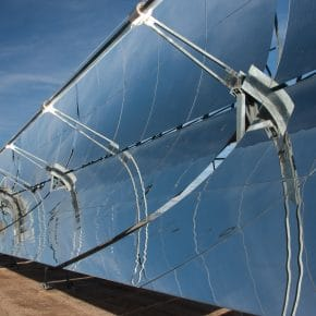A parabolic trough concentrated solar thermal power plant.