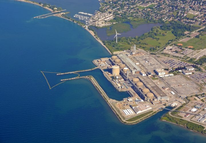 An aerial view of the Pickering Nuclear Generating Station in Ontario Canada.